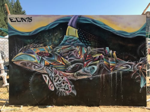 Street Murals by Max Ehrman (Eon75) seen at Mission District, San Francisco, San Francisco - Psychadelic Whales