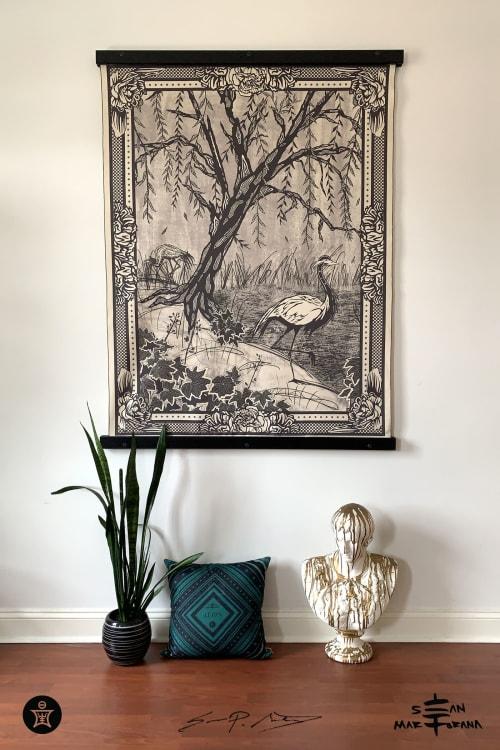 Weeping Willow, BlackCoral Heuchera & Demoiselle Cranes | Wall Hangings by Sean Martorana