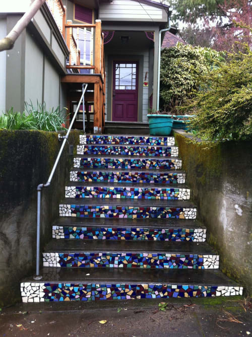Tiles by Bethpurcellmosaics seen at Private Residence, Portland - Portland Stairs