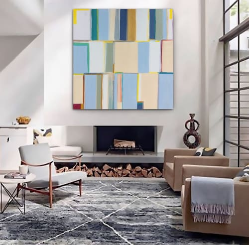 Paintings by Linnea Heide contemporary fine art seen at Private Residence, Portland - 'JARGON' original abstract painting by Linnea Heide