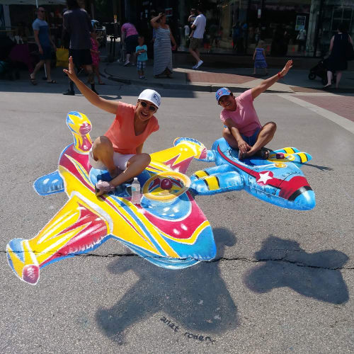 Street Murals by Anat Ronen seen at West Howard Street, Chicago - Airplanes!