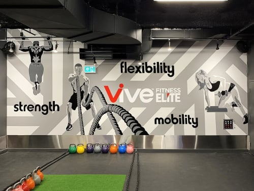 Murals by Leslie Phelan Mural Art + Design seen at Vive Fitness 24/7 Bathurst Toronto, Toronto - Vive Elite Fitness