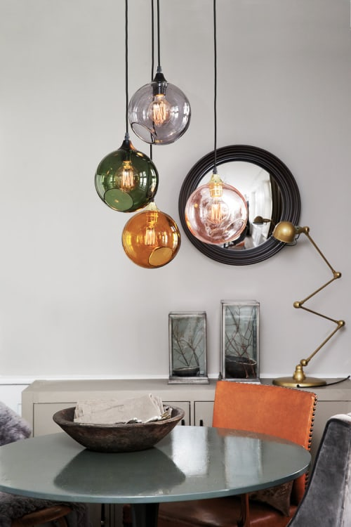 Pendants by Marie Burgos Design seen at Private Residence, New York - BALLROOM AMBER PENDANT LIGHT