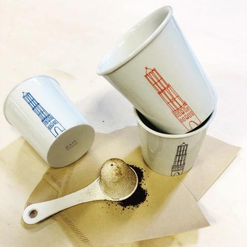 Cups by BAM Keramiek seen at TwaalfZestig, Utrecht - PORCELAIN COFFEE CUP WITH DOM-TOWER OF THE CITY UTRECHT