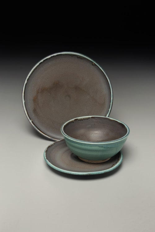 Ceramic Plates by Crazy Green Studios seen at Private Residence, Durham - Handmade Dinnerware