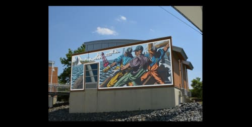 Street Murals by Michael Rosato seen at Dorchester County Visitor Center, Cambridge - Ode to Watermen