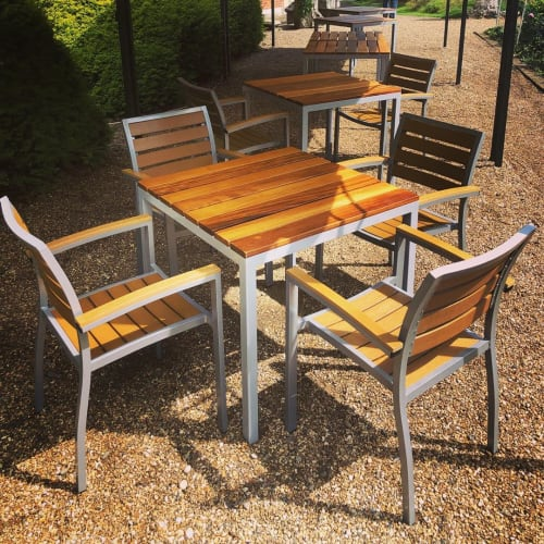 Tables by RAW Workshop seen at Best Western Plus Grims Dyke Hotel, London - Teak Table Tops and Chairs