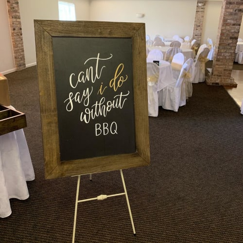 Signage by Jamie Lindley Lettering seen at Houston, Houston - Wedding standee calligraphy