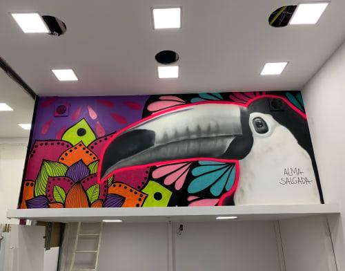 Murals by Alma Salgada seen at Aerotown Power Center, Barra da Tijuca - Tucano