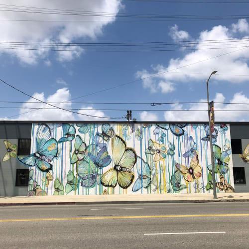 Street Murals by Sage Vaughn seen at South Main Street, Los Angeles - Butterflies on Main St.