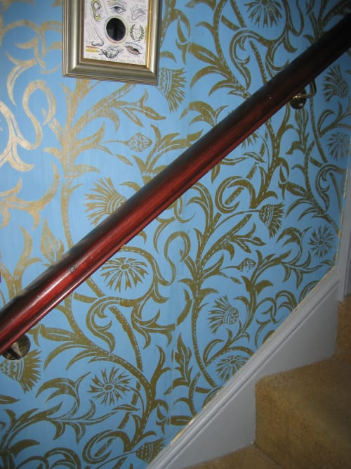 Wallpaper by Hugh Dunford Wood seen at Private Residence, Lindfield - Cardoon Handmade Wallpaper, Red on Clay