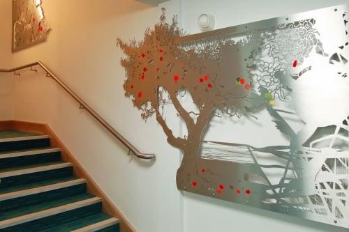 Sculptures by Jo Chapman seen at Wisbech Library, Wisbech - Fruitpicking