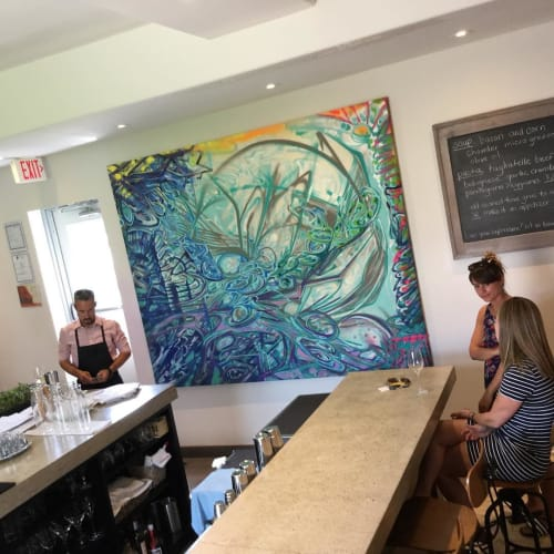 "Paintings by Mathew Vizbulis seen at Bolete Restaurant, St. Catharines - ""huge 76"""