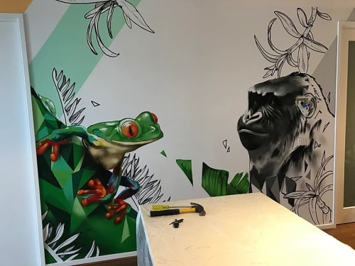Murals by Damien Arena seen at Private Residence, Footscray - Abstract Jungle