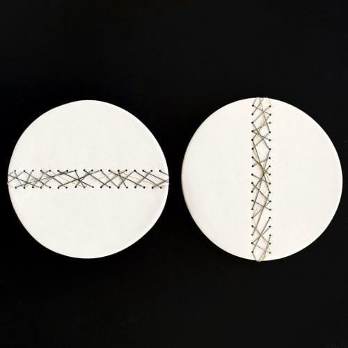 Art & Wall Decor by Elizabeth Prince Ceramics seen at Creator's Studio, Manchester - Circular Wall Art Set Of 2 Geometric Abstract Artwork