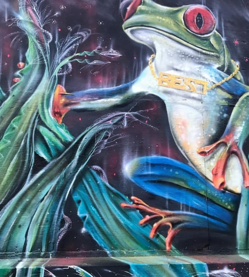 Murals by Max Ehrman (Eon75) seen at Community Thrift, San Francisco - Frog Prince Mural