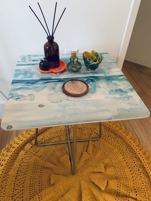 "Tables by ANoelleJay seen at Private Residence, Brooklyn - Side Table called ""Miami Beach Watercolor #6"""