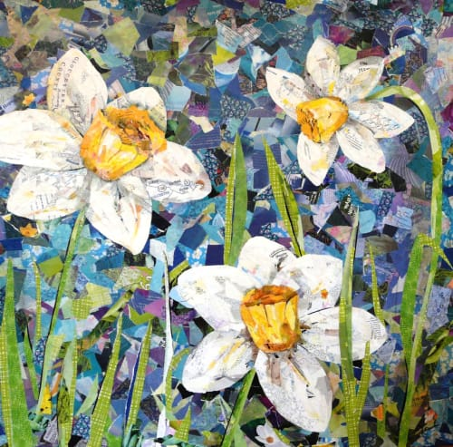 Paintings by Eileen Downes seen at Riverside Walter Reed Hospital, Gloucester - Close-Up of Daffodils