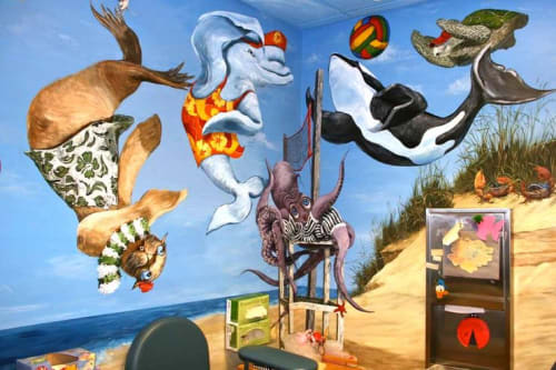 Murals by Gayle Mangan Kassal seen at Hasbro Children's Hospital, Providence - Pediatric Treatment room