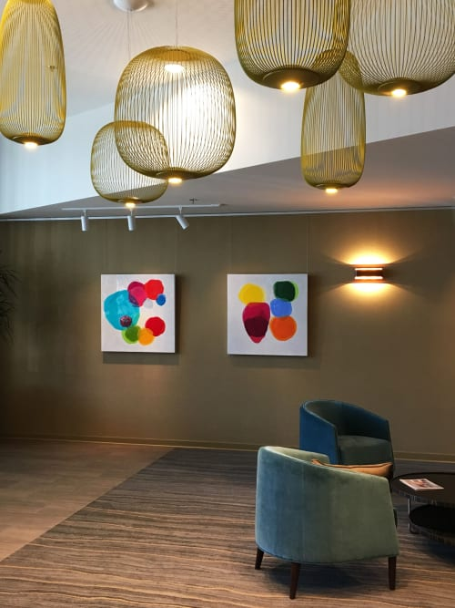 Paintings by Farida Hughes seen at Stonebridge Lofts, Minneapolis - Blended and Together and Colorful Connections | Lobby installation