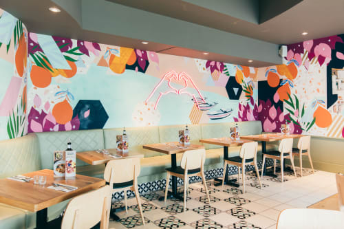Murals by Hannah Adamaszek seen at ASK Italian, Broadstairs - ASK Italian Westwood Cross