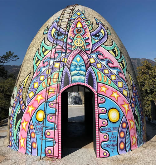Murals by Chris Dyer seen at Beatles Ashram, Rishikesh - The Eggman