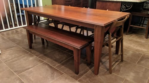 Tables by Old Line Craft seen at Private Residence, Hoover - Sapele Dining Table and Bench