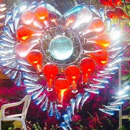 Public Sculptures by RandylandLA seen at Randyland, Los Angeles - Giant Glowing Heart of Glass