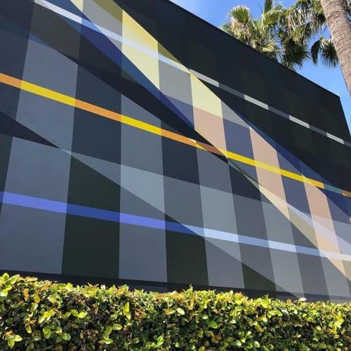 Murals by Gary Paller - Artist at Farmer's Daughter Hotel, Los Angeles - Geometric Gingham Mural