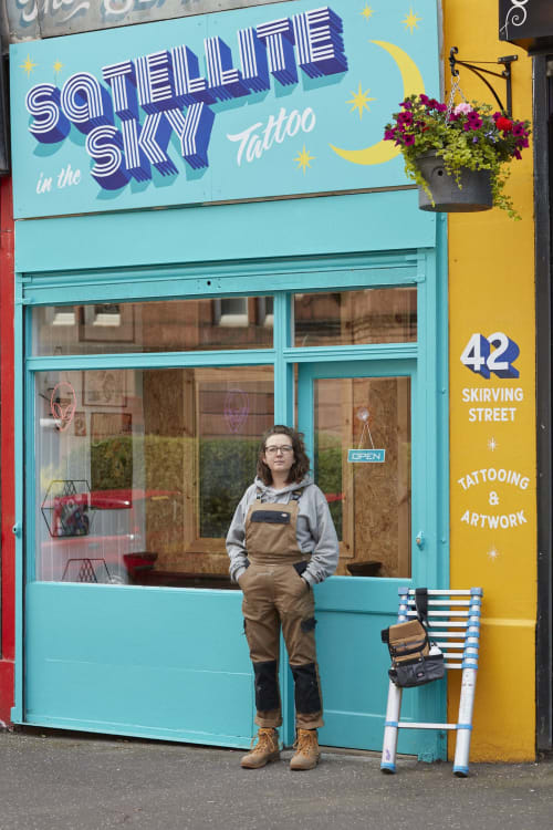 Satellite in the Sky Tattoo Signwriting | Signage by Rachel E Millar