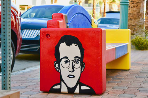 Murals by Tysen Knight seen at Downtown Palm Springs, Palm Springs - Street Bench Art - Keith Haring