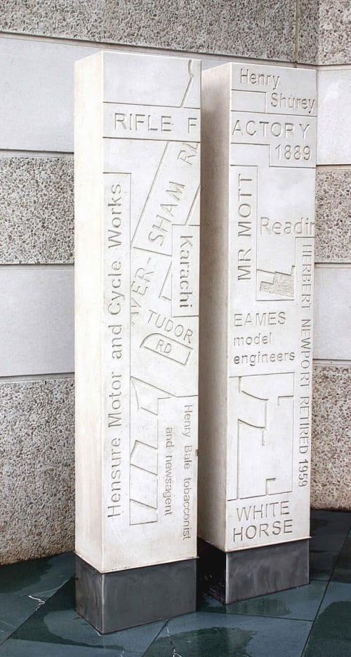Sculptures by David O'Connor seen at Pinnacle, Reading - Memory Columns