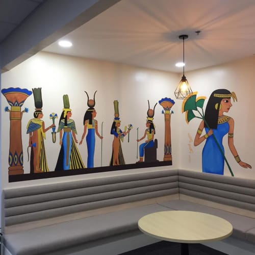 Murals by Tibor Shaw seen at ARB Call Facilities Inc., Bacolod - Egyptian lady