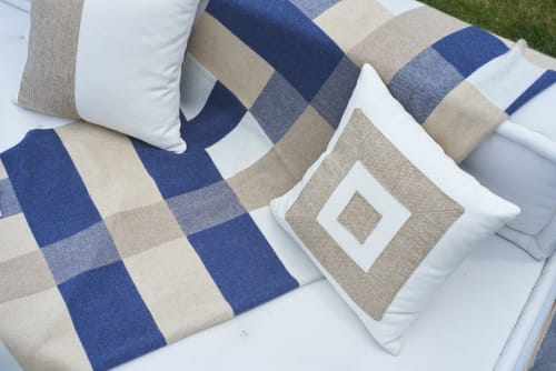 Interior Design by Hangai Mountain Textiles seen at Private Residence, Sag Harbor - Bauhaus Blue Cashmere Throw