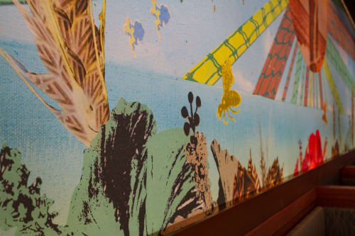 Murals by Margo Ray seen at Maui Brewing Co. Waikiki, Honolulu - Beverly Noa Maui Brewing Co. Waikiki Mural