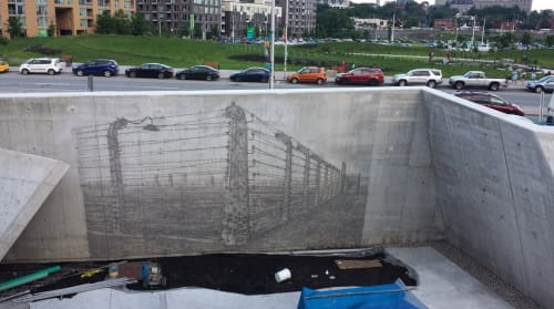 Murals by Cesar AR seen at 1918 Chaudière Crossing, Ottawa - National Holocaust Memorial