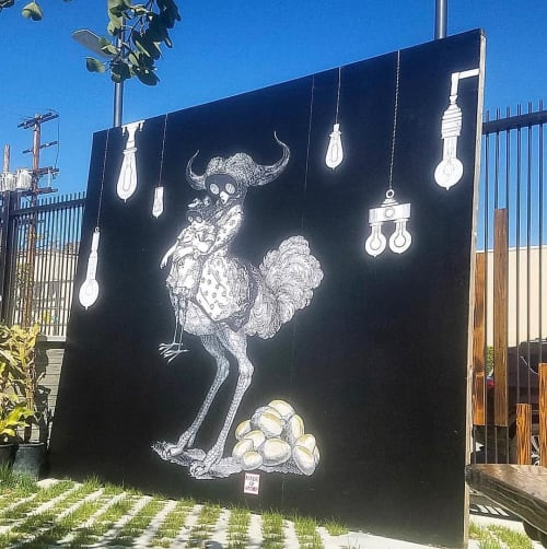 Murals by Made of Hagop seen at Angel City Brewery, Los Angeles - Oxtridge