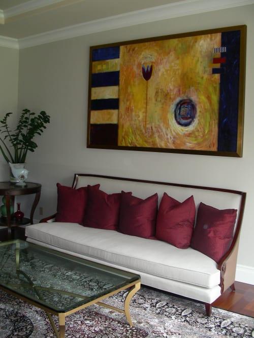 Blue Tulip Yellow Ochre   Paintings by Pam (Pamela) Smilow