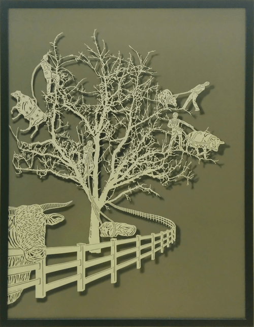 Art & Wall Decor by Bovey Lee seen at Zuckerberg San Francisco General Hospital and Trauma Center, San Francisco - Dragging Cows Up A Tree