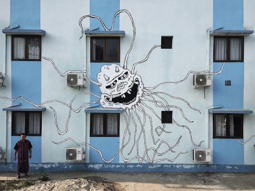 Street Murals by Kuba seen at Soe KoKo Motel Hpa-An, Pa-an - Cov_19 01