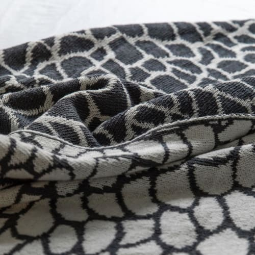 Linens & Bedding by Jill Malek Wallpaper - Peel Reversible Throw   Smoke/milk