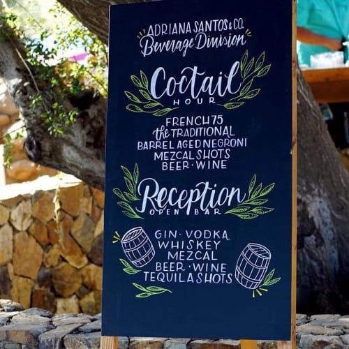 Signage by La María seen at Bruma Valle de Guadalupe, Valle de Guadalupe - Bar menu board