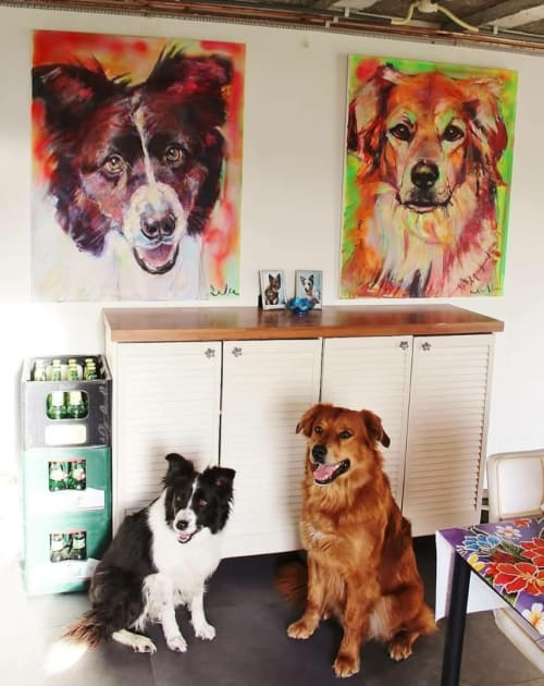 Paintings by Liesbeth Serlie seen at Private Residence, Zuilichem - Bernersennenlabrabdormix portret