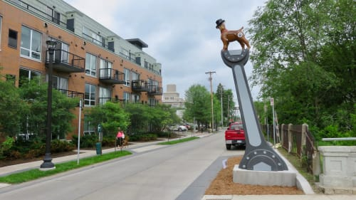 "Public Sculptures by Kyle Fokken - Artist LLC seen at Corner of 29th Street and Aldrich Avenue South, Minneapolis - ""Top Dog"""