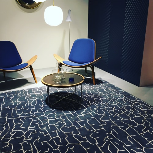 Rugs by Naja Utzon Popov seen at Private Residence, Copenhagen - Oceania Seabed Blue