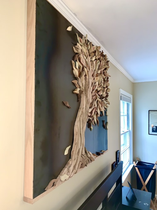 Sculptures by Meleah Gabhart Art seen at Private Residence, Chapel Hill - Wood Tree Sculpture, bent tree