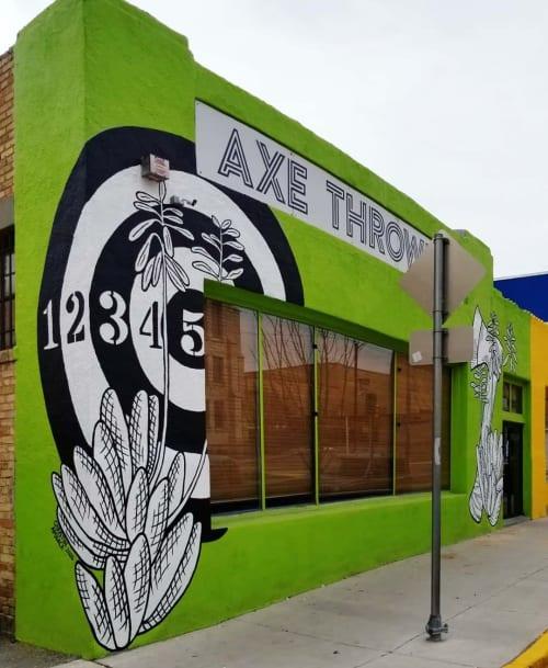 Murals by Christin Apodaca seen at RELAXE, El Paso - Mural (Axe-throwing)
