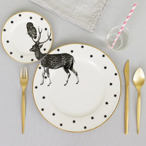 Ceramic Plates by YvonneEllen seen at Private Residence, London - Monochrome Stag Plate Set