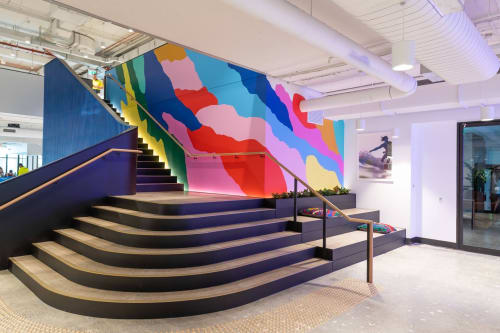 """Murals by Katie Whyte seen at WeWork, Brisbane City - """"The Road Less Travelled"""""""