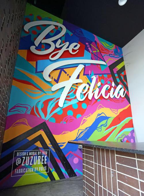 Murals by Zuzu Perkal seen at Kung Fu Saloon, Austin - Bye Felicia Mural
